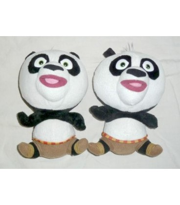 LOT DE 2 Peluches doudou Panda KUNG FU PANDA BIG HEADZ - 22 cm