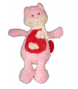 Doudou CHAT rose blanc rouge - BENGY Amtys - H 32 cm - 2010
