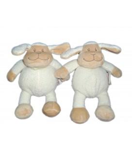 LOT - 2 x Mouton blanc beige foulard vert - BENGY Amtoys - H 21cm - 2007
