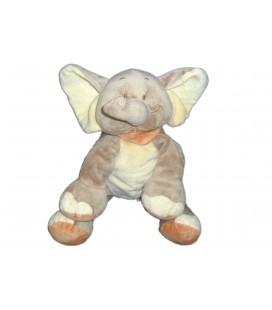 Doudou peluche ELEPHANT beige orange - BENGY Amtoys - H 20 cm assis - 2005