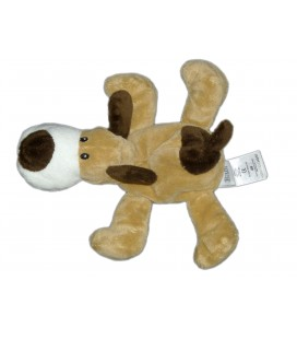 Doudou CHIEN marron blanc - H ET M HETM Baby - L 22 cm - 3909B7
