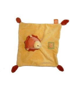 Doudou plat lion jaune orange Moulin Roty Les Loustics