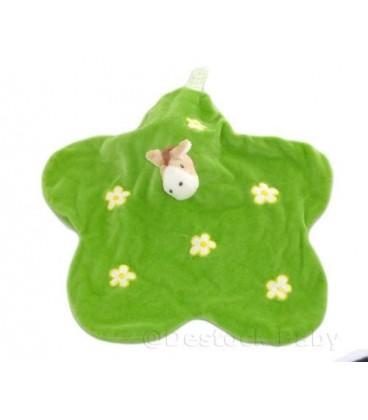 Doudou plat CHEVaL Feuille vert fleurs blanches jaunes EGMONT TOYS