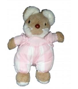 Petit doudou peluche SOURIS rose beige JACADI - H 20 cm