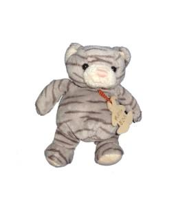 Doudou CHAT Tigre Boule gris - Histoire d'Ours - H 16 cm