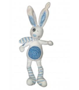 Doudou LAPIN blanc bleu - TAPE A L'OEIL - H 44 cm - Ref. 550319