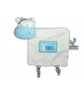 Doudou plat VACHE Blanc Bleu TOROS - TAPE A L'OEIL - Ref. 36358