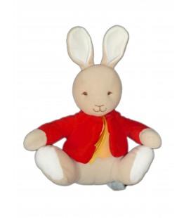 Doudou LAPIN beige Gilet rouge - Bunny Kids - BENGY Amtoys - H 27 cm - Noeud jaune satiné