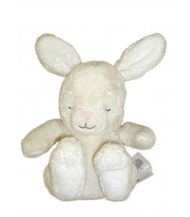 Doudou Lapin blanc crème écru Lapereau yeux dormeurs H & M 19 cm Sleepy rabbit