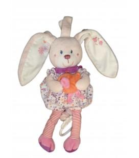 Peluche Doudou Musical LAPIN Mauve Robe oiseau - TEX Baby Carrefour CMI - H 26 cm