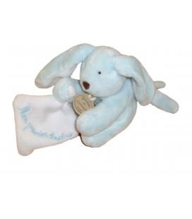 DOUDOU ET COMPAGNIE - Mini Lapin bleu Mouchoir blanc - Mon Premier doudou - H 9 cm