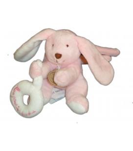 DOUDOU ET COMPAGNIE - Mini Lapin rose Anneau blanc - Mon Premier doudou - Grelot - H 9 cm