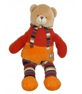 DOUDOU ET COMPAGNIE - Ours orange bleue Salopette - H 42 m