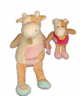 DOUDOU ET COMPAGNIE - Vache rose beige blanche - Cerise - Et son bébé H 30 cm