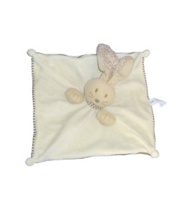 Doudou plat LAPIN blanc marron beige - NATURE ET DECOUVERTES