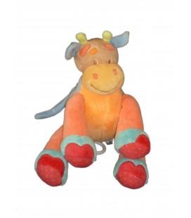 Peluche doudou Musical Vache Girafe Orange - NATTOU Jollymex - H 20 cm