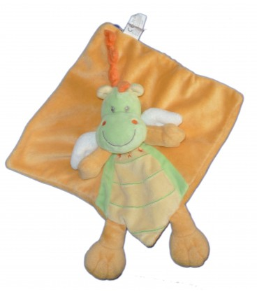 Doudou plat Dragon Dinosaure orange vert Nicotoy 579/8851