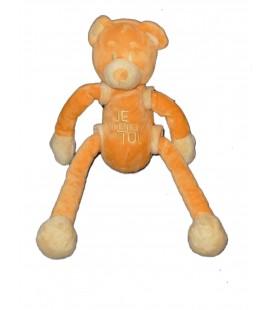 Doudou OURS orange CMP - Je pense à toi - Longues jambes et bras coulissants