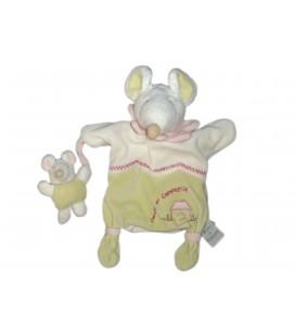 DOUDOU ET COMPAGNIE - Marionnette Souris Barbotine Blanc vert rose et son bebe