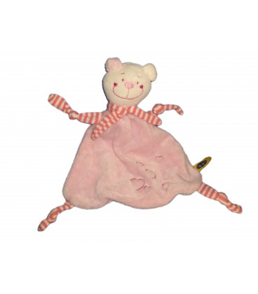 Doudou plat OURS rose CAUSE - Coeurs - 4 noeuds Echarpe
