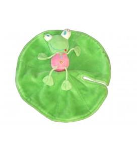 Doudou plat GRENOUILLE rose Verte Nénuphar Vert DPAM Du Pareil au Même