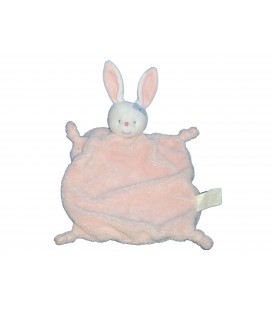 Doudou plat LAPIN blanc rose - KIMBALOO La Halle ! Noeud bleu sur la tête