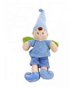 Doudou lutin gara§on fée ange bleu ailes feuilles vertes - NICOTOY - Etoiles - 38 cm