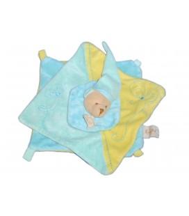 Doudou Plat OURS bleu jaune - BABY NAT