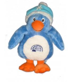 Doudou peluche PINGOUIN Bleu IGLOONOUS Gipsy - Igloo Bonnet Flocon - H 20 cm