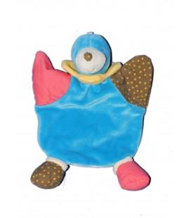 Doudou plat bleu rouge marron TAUPE Marionnette NOUNOURS
