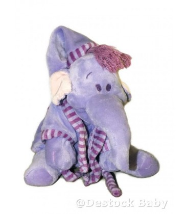 Doudou peluche éléphant mauve LUMPY Pyjama Peignoir 25 m Disney Nicotoy