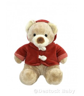 Doudou peluche OURS beige nicotoy The Baby Collection Kiabi - Manteau rouge 24 cm