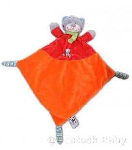 Doudou CHAT Orange rouge MOTS D'ENFANTS - Losange Echarpe verte