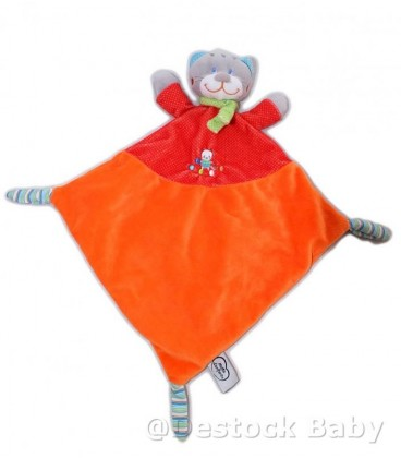 Doudou CHAT Orange rouge MOTS D'ENFANTS - Losange Echarpe verte