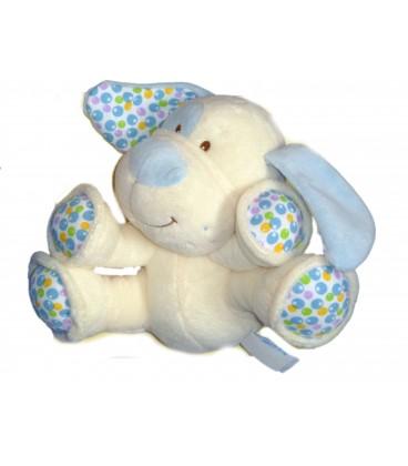 Doudou peluche CHIEN blanc bleu GIPSY Grelot Hochet Plush