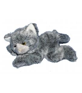 Doudou peluche CHAT gris fourrure - Gipsy - L 30 cm