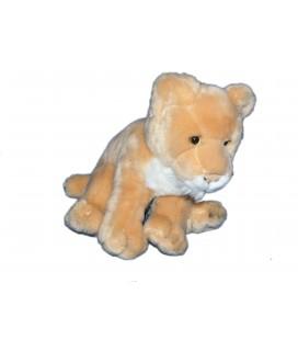 Doudou peluche Tigre Lionne beige blanc fourrure Gipsy 22 cm