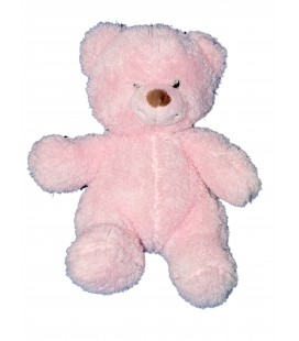 Doudou peluche OURS rose Longs poils - GIPSY - H 28 cm