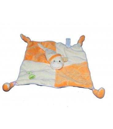 Doudou plat VACHE orange - GIPSY - 2 noeuds - Feuilles brodées