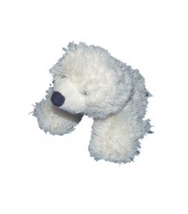 Doudou OURS polaire blanc - GIPSY - Longs poils - 14 x 16 cm