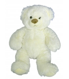 Doudou peluche OURS Blanc - Longs poils - GIPSY - H 35 cm
