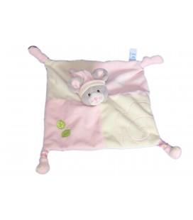 Doudou plat SOURIS rose - GIPSY - 2 noeuds - Feuilles vertes brodées