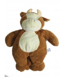 Doudou peluche VACHE marron blanche - GIPSY - H 38 cm