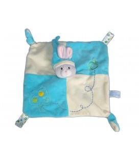 Doudou plat LAPIN bleu - GIPSY - 2 noeuds - Pommier Pommes brodées