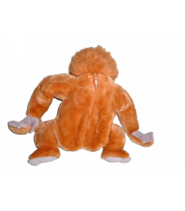 le livre de la jungle  doudou peluche range pyjama fermeture singe orange orang outang tarzan roi louis disney jemini h cm
