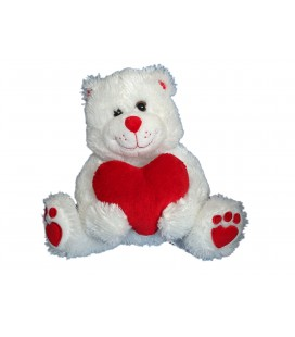 Doudou peluche OURS blanc Coeur rouge - GIPSY - H assis 20 cm