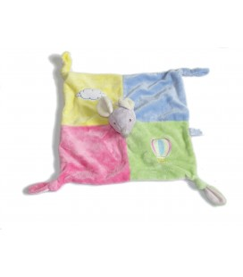 Doudou plat souris rose Vert bleu jaune GIPSY Nuage Montgolfiere