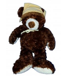 Doudou peluche OURS marron Bonnet Beige - GIPSY - H Debout 45 cm