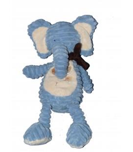 Doudou Peluche ELEPHANT bleu Feuilles - Bengy Amtoys - H 35 cm