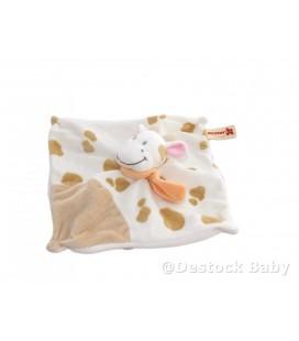 Doudou plat VaCHE Girafe NICOTOY - Blanche ta¢ches marrons echarpe orange